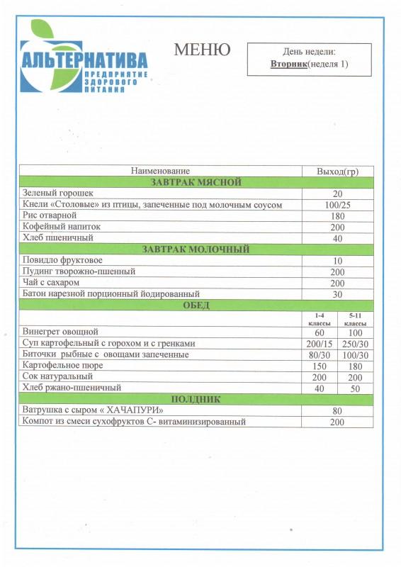 03878b121683a3 Примерное четырёхнедельное цикличное меню для организации питания в ...